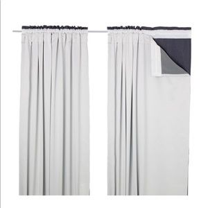 IKEA GLANSNAVA PAIR WINDOW CURTAIN LINERS GRAY